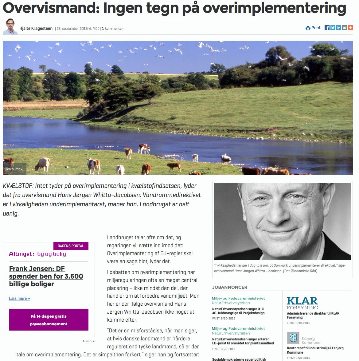 efebc2213b6 Overvismand: Ingen tegn på overimplementering | NATURBESKYTTELSE.DK