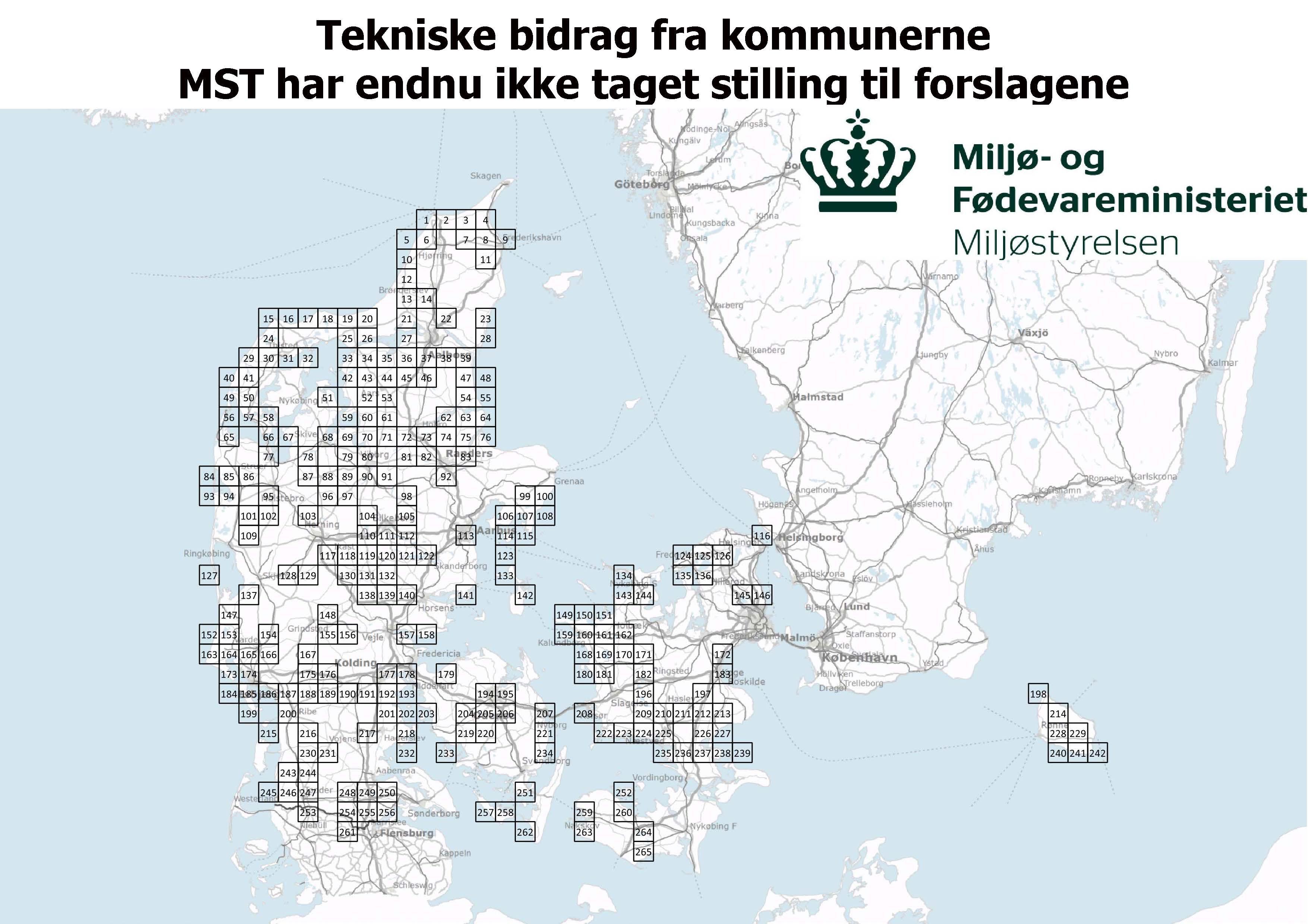 Tekniske bidrag fra kommunerne MST har endnu ikke taget stilling til forslagene